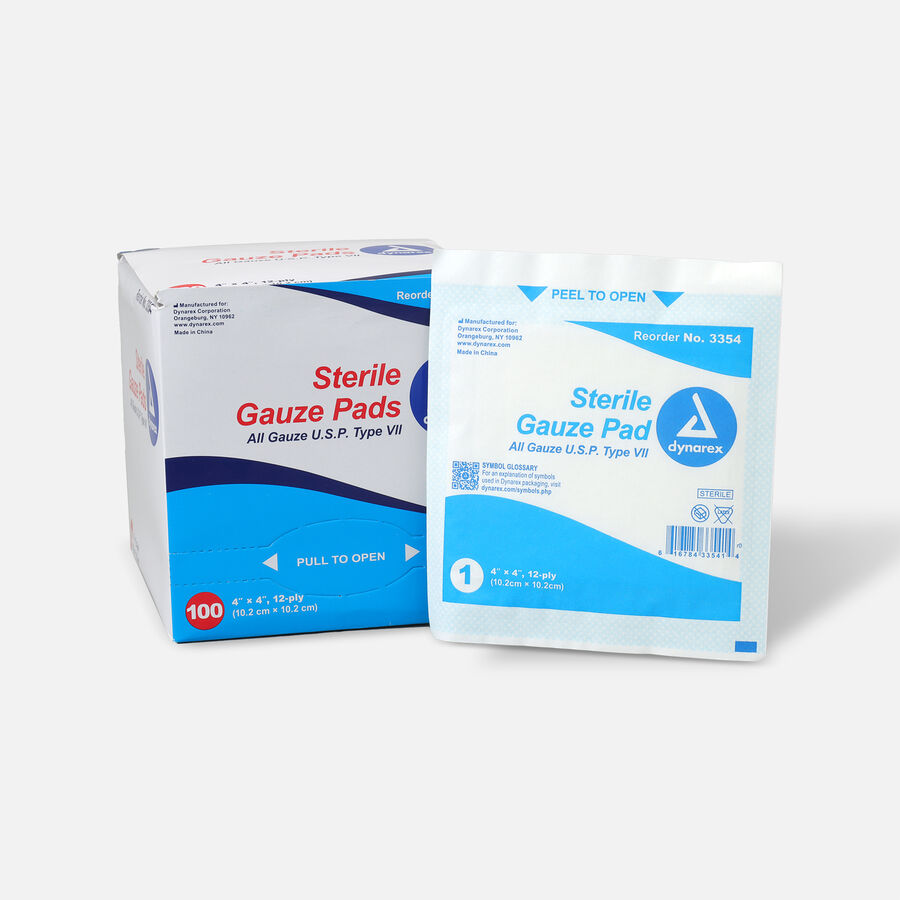 Dynarex Sterile Gauze Pads,12 ply - 100ct, , large image number 4