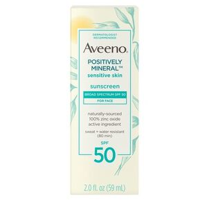 Aveeno Positively Mineral Sensitive Face Lotion Sunscreen SPF 50, 2 fl. oz