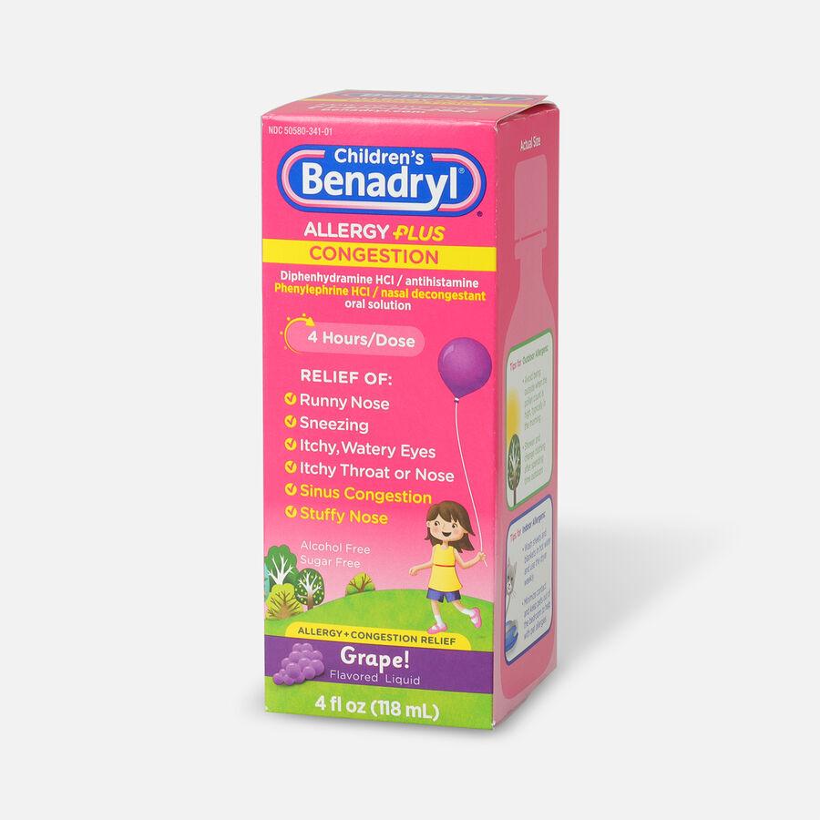 Benadryl-D Allergy & Sinus Liquid, Grape, 4 fl oz, , large image number 2