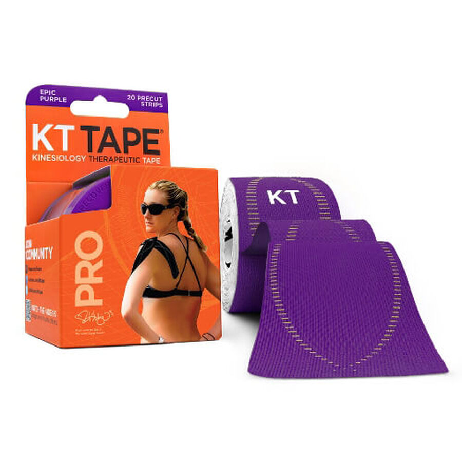 KT TAPE PRO, Pre-cut, 20 Strip, Synthetic, Epic Purple, Epic Purple, large image number 0