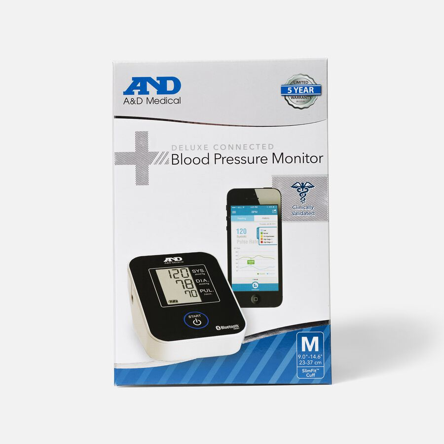 A&D Deluxe Bluetooth Connected Arm Blood Pressure Monitor, , large image number 0