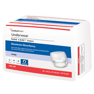 Cardinal Health SURE CARE™ Super Adult Protective Underwear with BreatheEasy™ Technology, Large