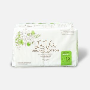 La Vie Organic Cotton Top Sheet Pads with Wings, Heavy Absorbency, Long, 15ct