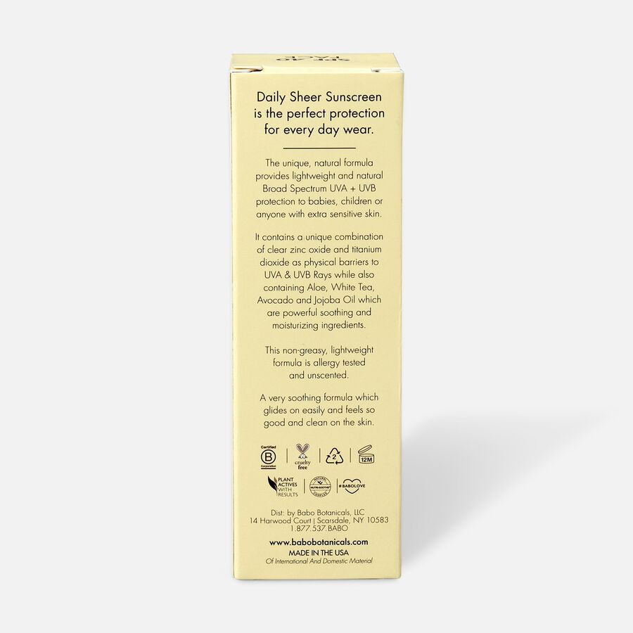Babo Botanicals Daily Sheer Fragrance Free Facial Sunscreen SPF 40, 1.7 oz, , large image number 2