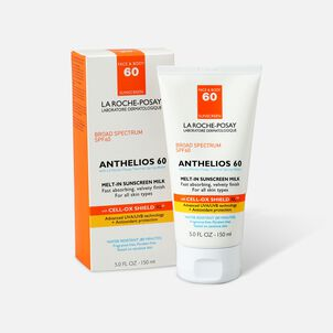 La Roche-Posay Anthelios 60 Body and Face Sunscreen Melt-In Milk Lotion, SPF 60 with Antioxidants, 5 Fl. Oz.