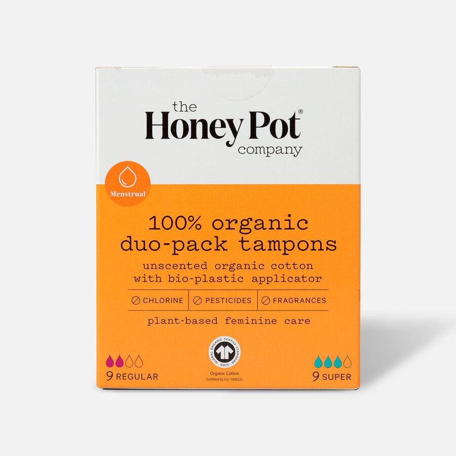 The Honey Pot Organic Tampons, 18ct, , large image number 1