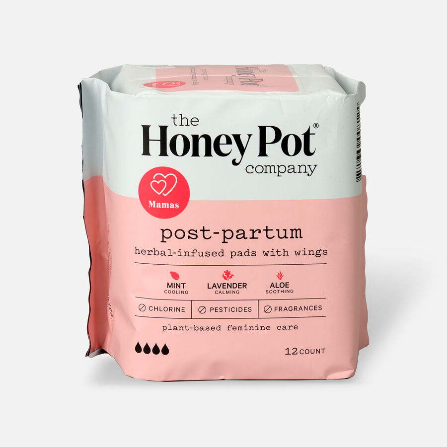 The Honey Pot Postpartum Herbal Pads with Wings, 12ct, , large image number 0