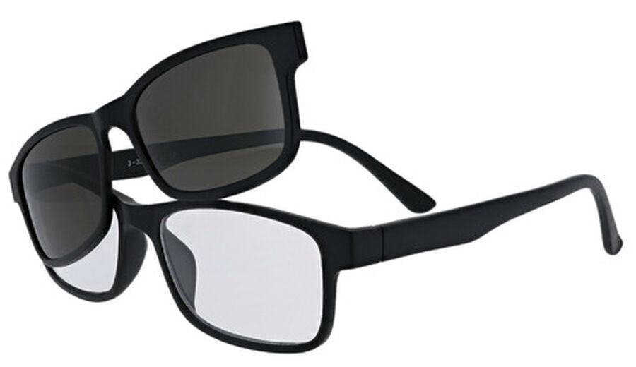 Sunglass Reader with Magnetic Detachable Polarized Lens, +2.50, Black/Smoke, Black/Smoke, large image number 0