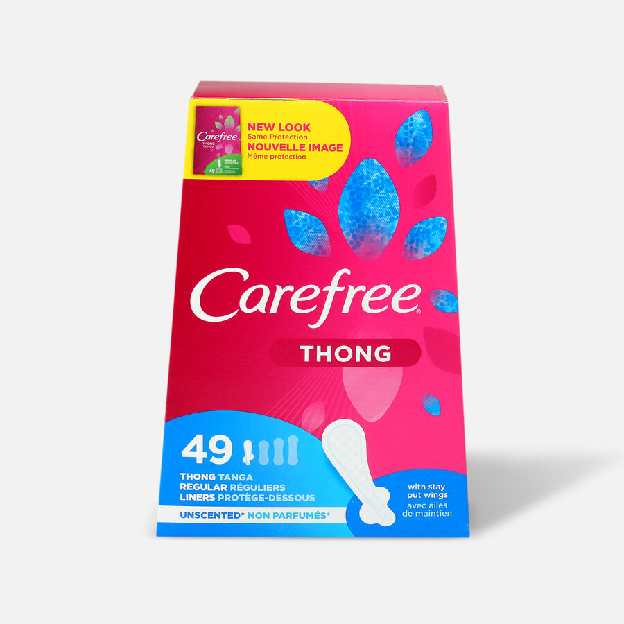 Carefree Thong Pantiliners, Unscented, 49ct, , large image number 0