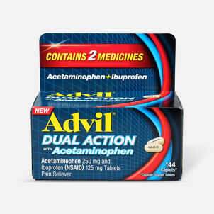 Advil Dual Action Coated Tablets, Acetaminophen + Ibuprofen, 144 ct