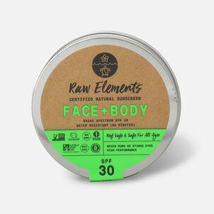 Raw Elements Face & Body Natural Sunscreen, SPF 30, 3.0 oz Tin