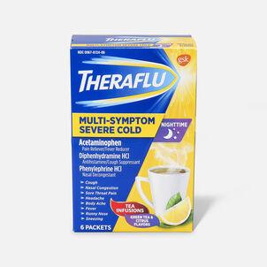 Theraflu Nighttime Multi-Symptom Severe Cold Hot Liquid Powder, Green Tea and Citrus Flavors, 6 ct