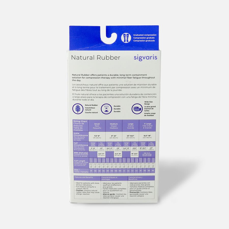 SIGVARIS Natural Rubber Unisex Socks, Open Toe, Small Short, Beige, , large image number 1