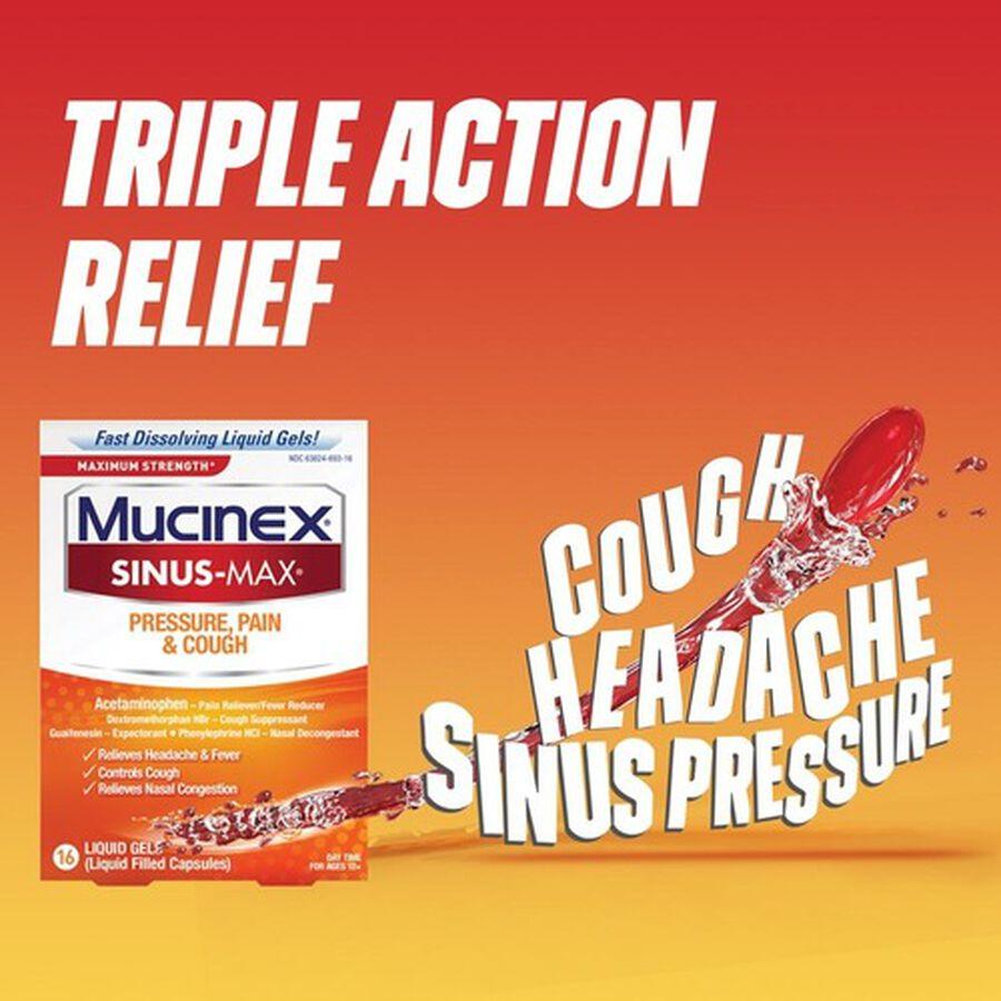 Mucinex Sinus-Max Liquid Gels Pressure, Pain and Cough, 16 ct, , large image number 2