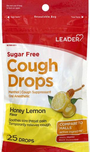 LEADER™ Cough Drops Sugar Free Honey Lemon 25 ct