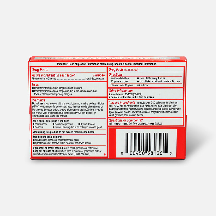 Sudafed PE Sinus Congestion Maximum Strength Non-Drowsy Decongestant Tablets, 36 ct, , large image number 1