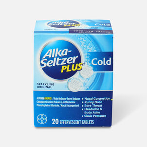Alka-Seltzer Plus Cold Formula Sparkling Original Effervescent Tablets, 20ct