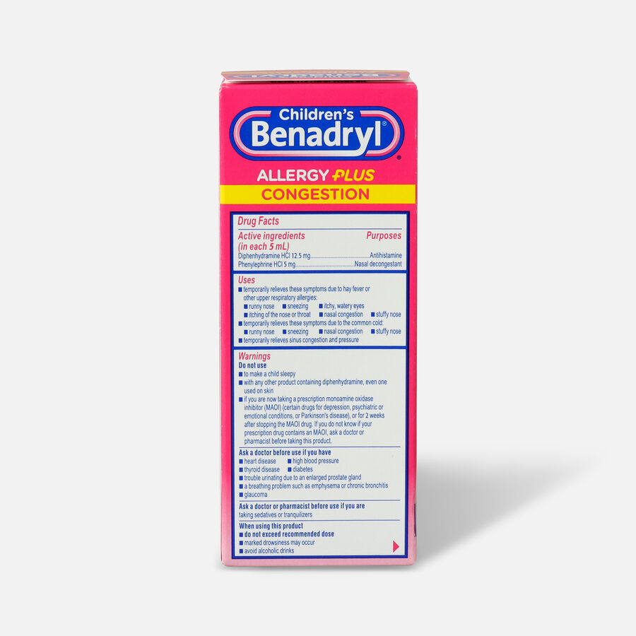 Benadryl-D Allergy & Sinus Liquid, Grape, 4 fl oz, , large image number 1
