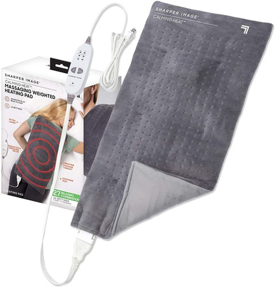 """Calming Heat Massaging Weighted Heating Pad, 12 Settings - 3 Heat, 9 Massage, 12"""" x 24"""", 4 lbs, , large image number 0"""
