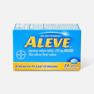 Aleve All Day Strong Pain Reliever, Fever Reducer, Caplet, 24 ea