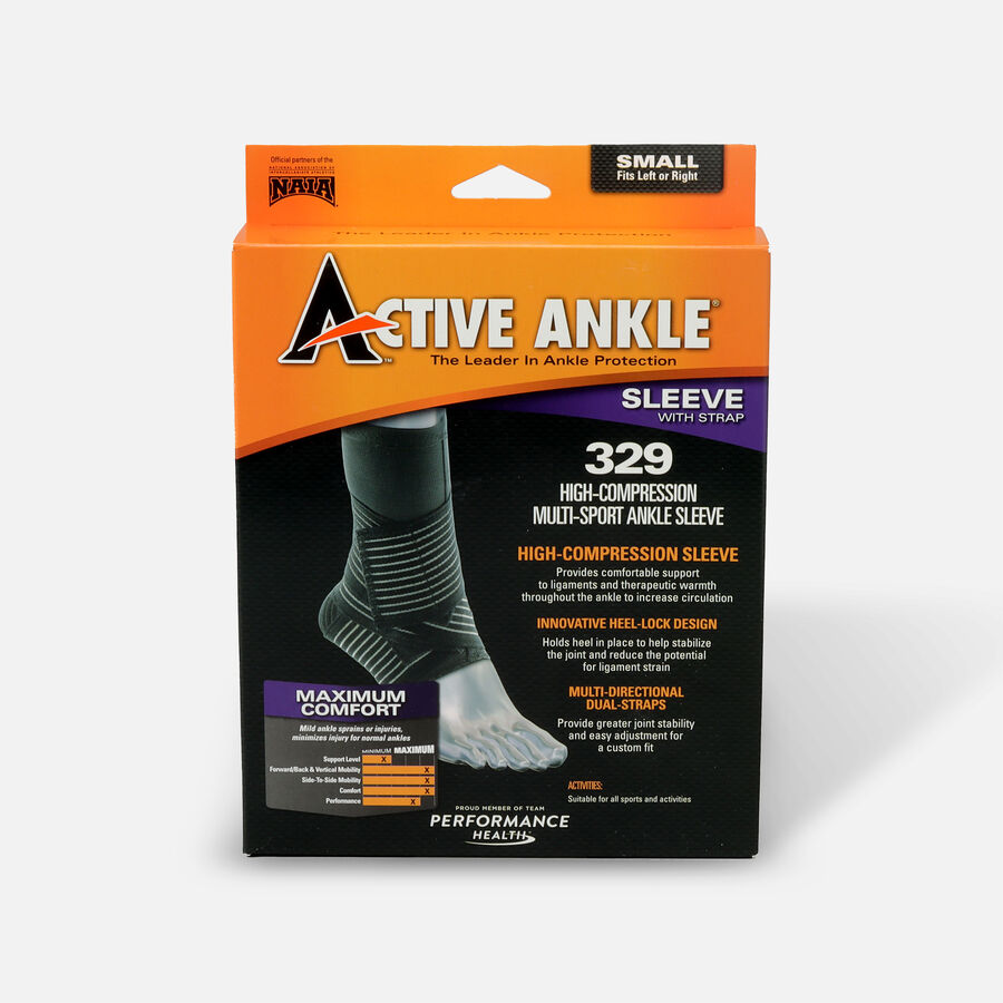 Active Ankle 329 Compression Ankle Sleeve, Black, Small, , large image number 0