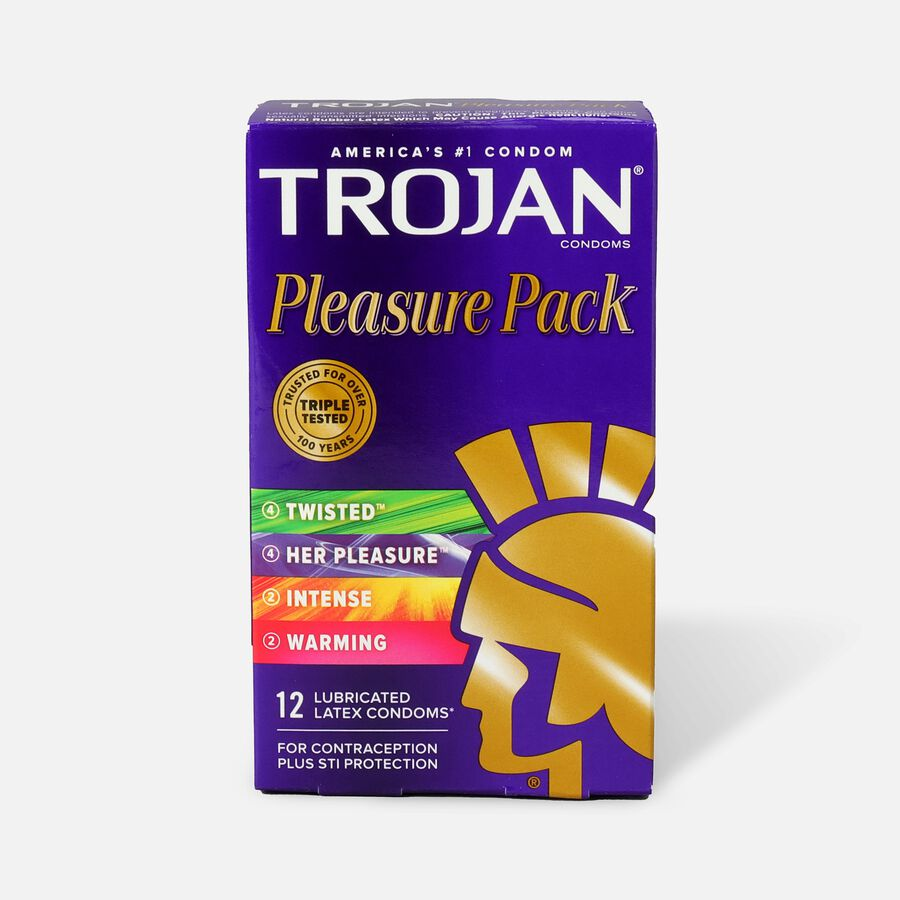 Trojan Lubricated Latex Condoms, Pleasure Pack, 12 ea, , large image number 0