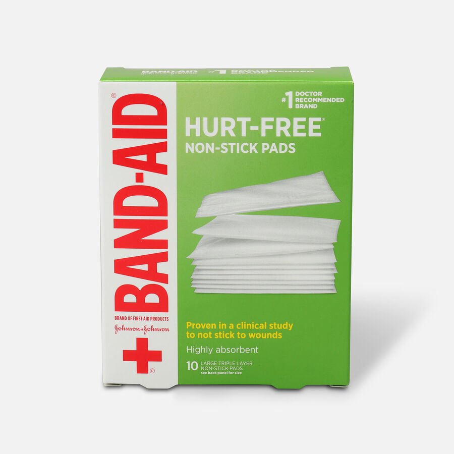 BAND-AID® Adhesive Bandages, Large Non-Stick Pads, 10 3-Inch x 4-Inch Pads, , large image number 0