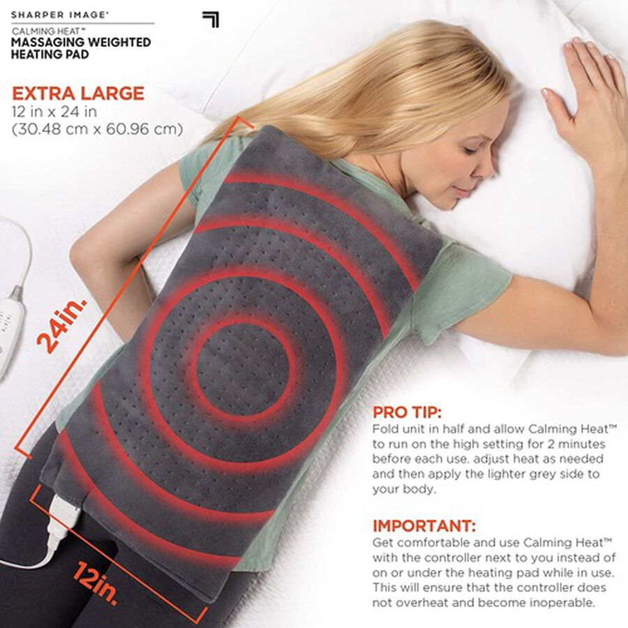 """Calming Heat Massaging Weighted Heating Pad, 12 Settings - 3 Heat, 9 Massage, 12"""" x 24"""", 4 lbs, , large image number 3"""