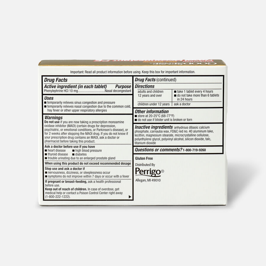 GoodSense® Nasal Decongestant PE 10 mg Non Drowsy Tablets, , large image number 4