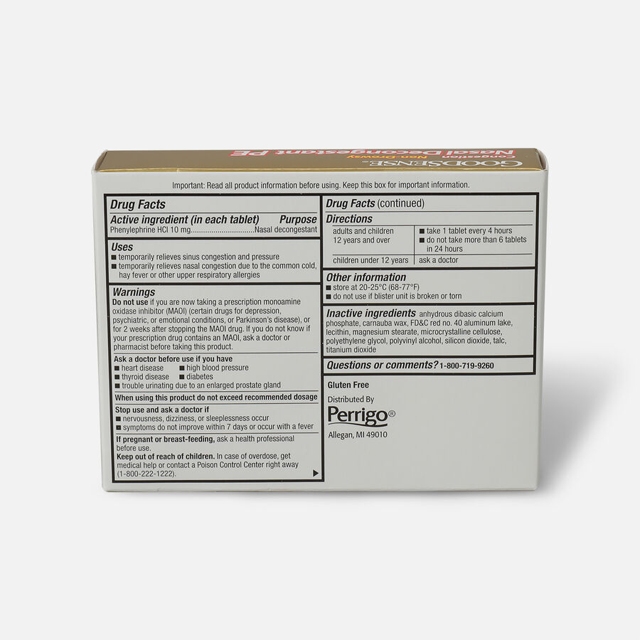 GoodSense® Nasal Decongestant PE 10 mg Non Drowsy Tablets, , large image number 1