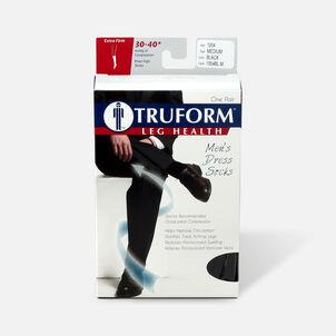 Truform Men's Dress Knee High Support Sock, 30-40 mmHg, Closed Toe, Black, Medium