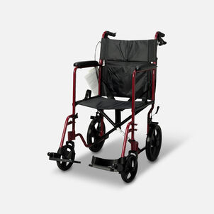Nova Lightweight Transport Chair with Hand Brakes, Red