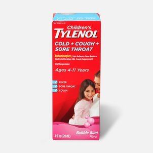 Children's Tylenol Cold + Cough + Sore Throat, Bubblegum Flavor, 4 fl oz
