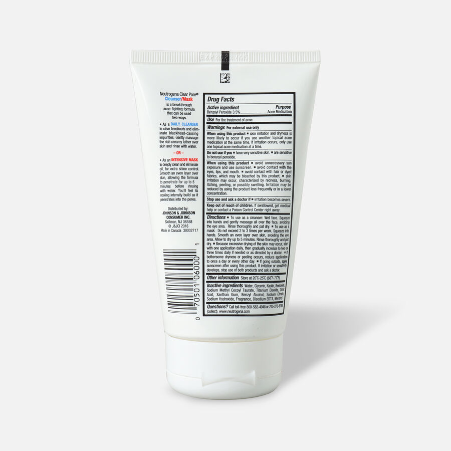Neutrogena Clear Pore Cleanser / Mask, 4.2oz, , large image number 1