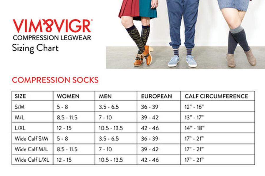 VIM & VIGR Moisture-Wick Nylon Socks, Solid Black, Wide Calf, 30-40 mmHg, , large image number 7
