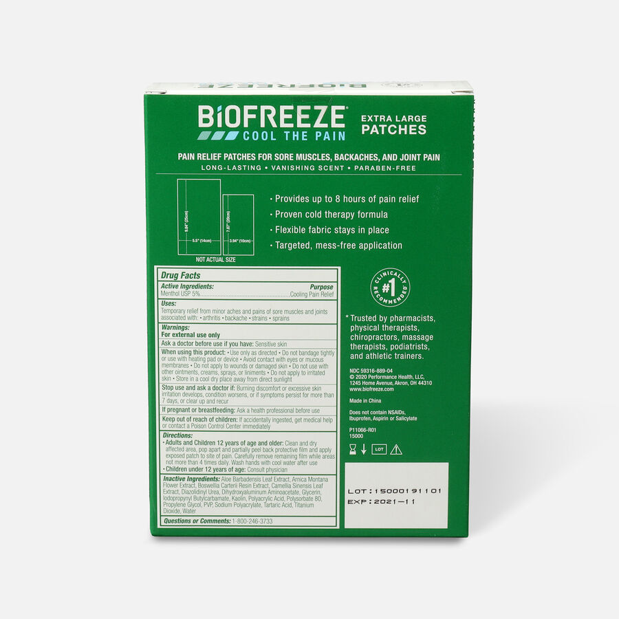 Biofreeze Extra Large Pain Relief Patch, Variety Pack, 4 pc, , large image number 1