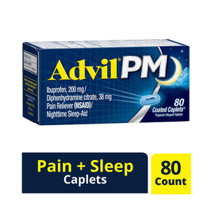 Advil Pain PM Reliever & Nighttime Sleep Aid Coated Caplets, 80 ct