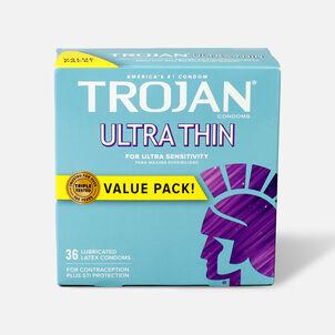 Trojan Ultra Thin Lubricated Latex Condoms, 36 ea