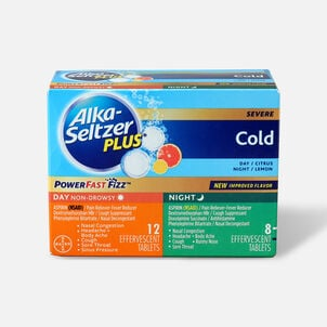 Alka-Seltzer Plus Cold PowerFast Fizz, Day & Night Effervescent Tablets, 20ct