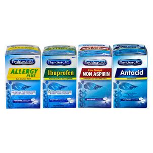 PhysiciansCare X-Strength Non-Aspirin, Aspirin, Ibuprofen, Antacid, 1 box of each 50x2 tablets (shrink wrapped)