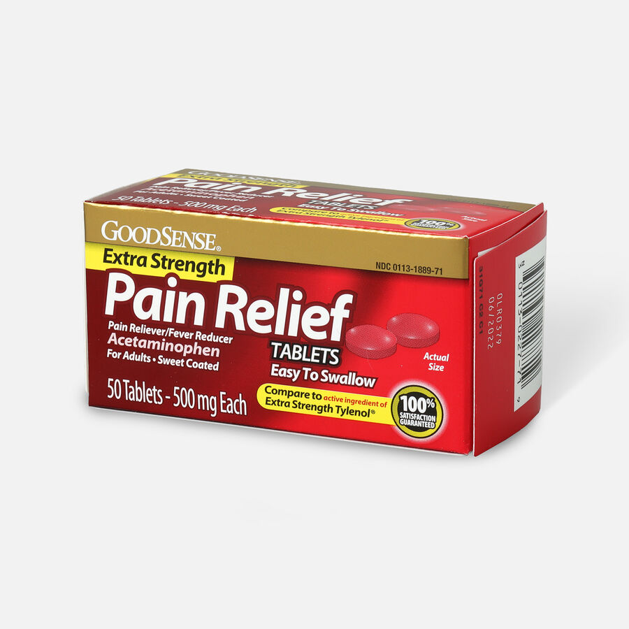 GoodSense® Pain Relief 500 mg Sweet Coated Easy to Swallow Tablet, 50 ct, , large image number 2