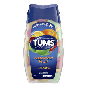 TUMS Ultra Strength Assorted Fruit Antacid Chewable Tablets for Heartburn Relief, 72 ct