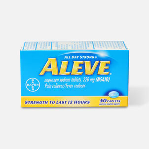 Aleve All Day Strong Pain Reliever, Fever Reducer, Caplet, 50 ea