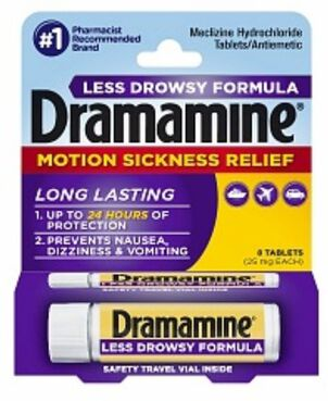 Dramamine Motion Sickness Relief Tablets, Less Drowsy Formula, 8 ct