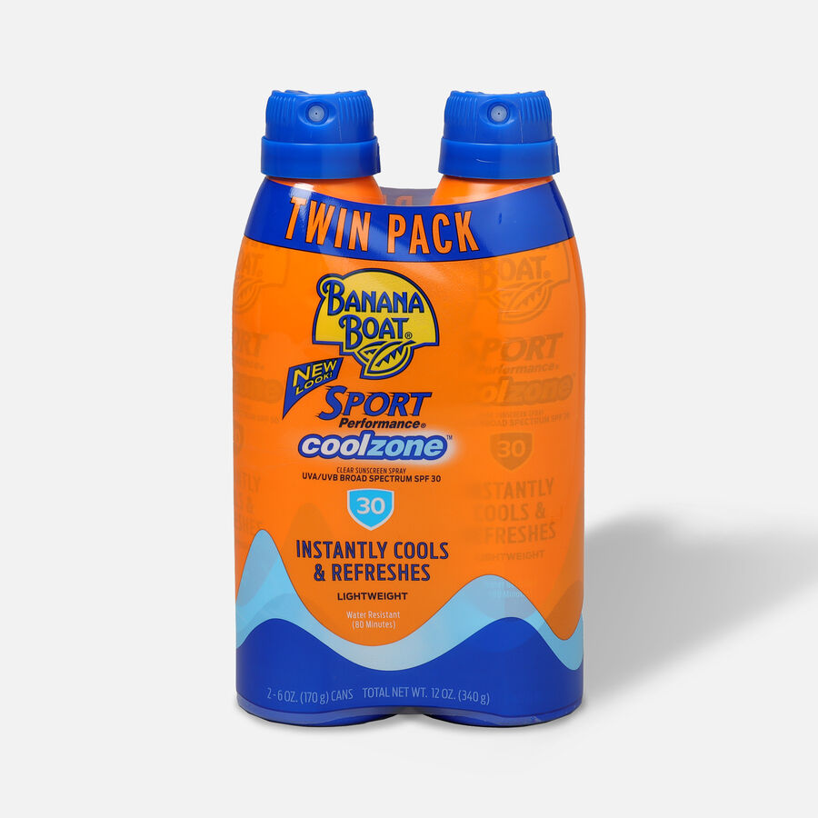 Banana Boat Sport CoolZone Clear Sunscreen Spray SPF 30, 6oz - Twin Pack, , large image number 0