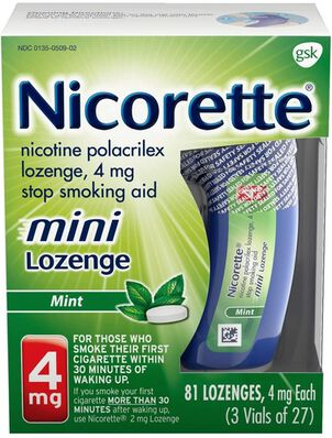 Nicorette Nicotine Lozenges, Mint, 4mg, 81 ct