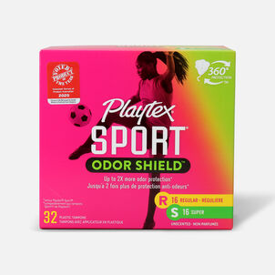 Playtex Sport Odor Shield Tampons, Multipack, 32ct (Reg/Super)