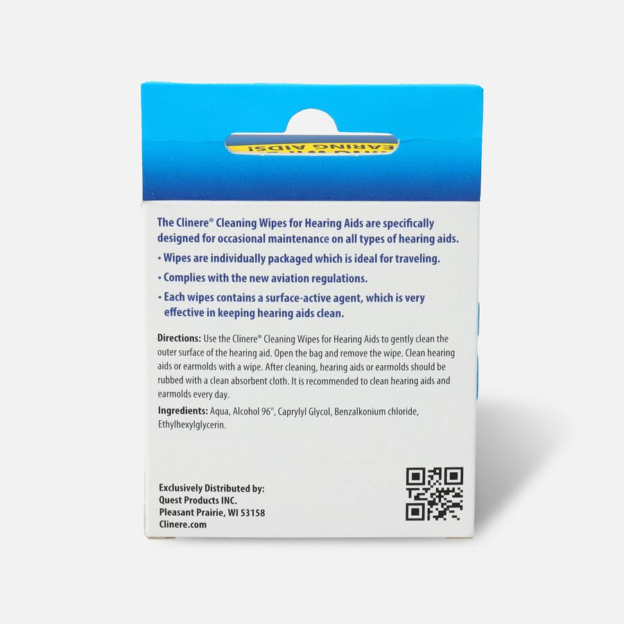 Clinere Hearing Aid Cleaning Wipes, 30 Count, , large image number 1
