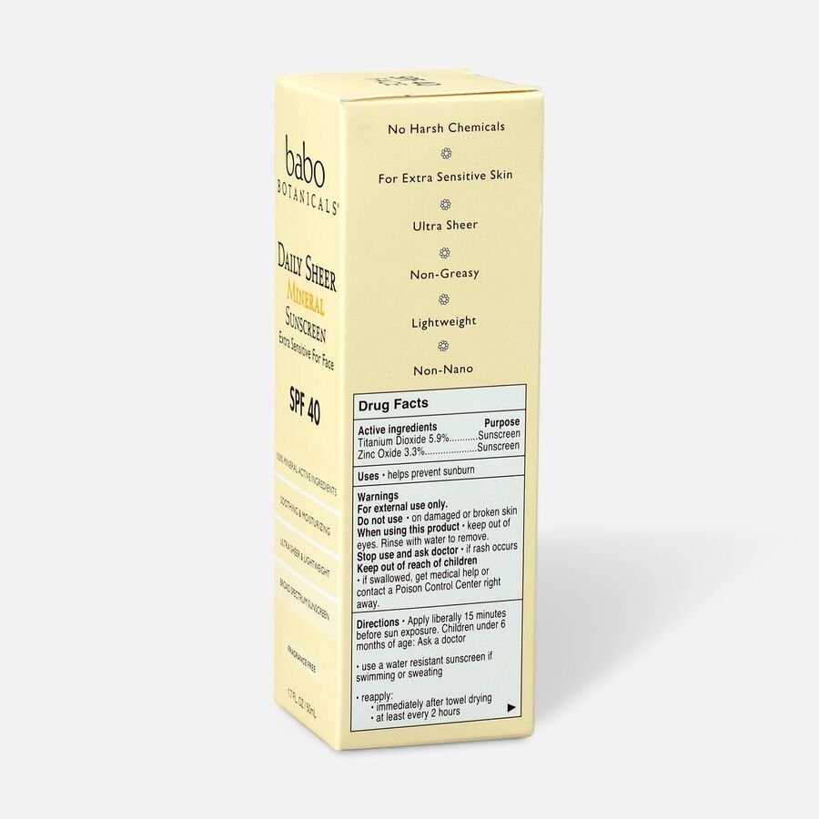 Babo Botanicals Daily Sheer Fragrance Free Facial Sunscreen SPF 40, 1.7 oz, , large image number 4