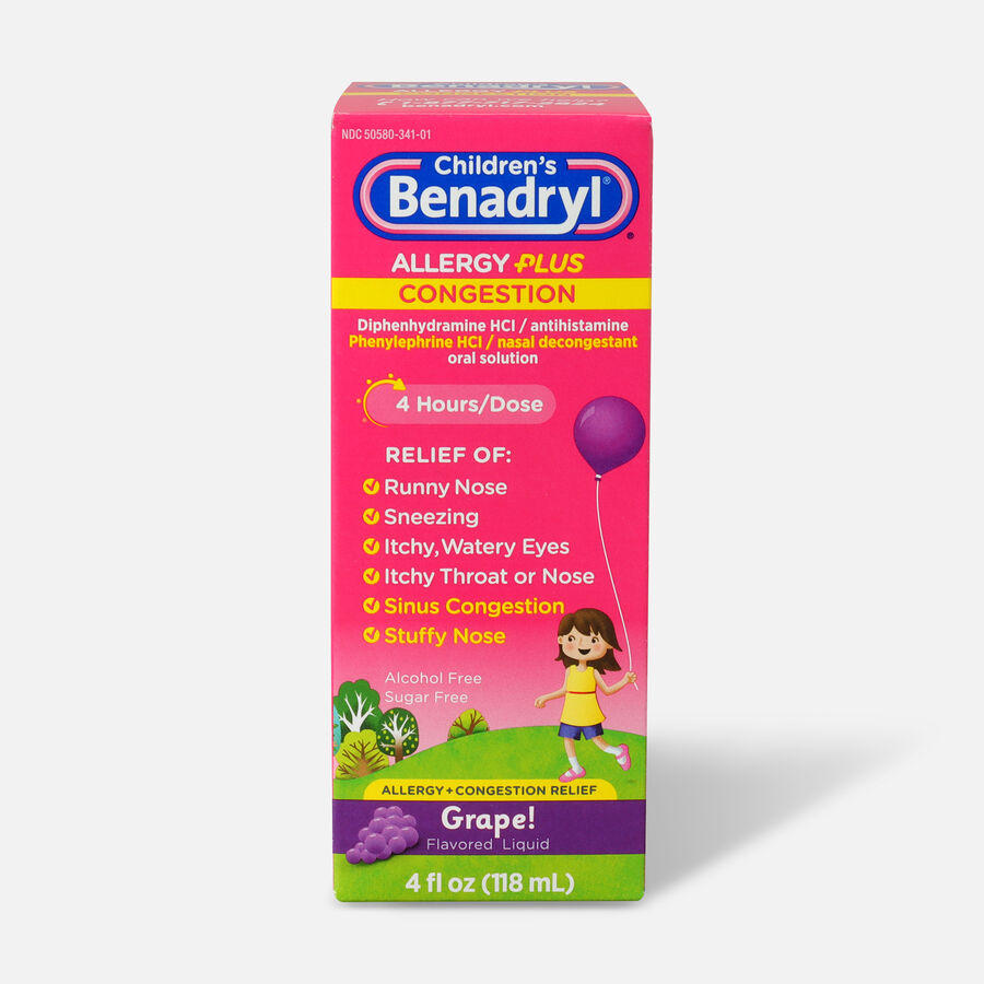 Benadryl-D Allergy & Sinus Liquid, Grape, 4 fl oz, , large image number 0